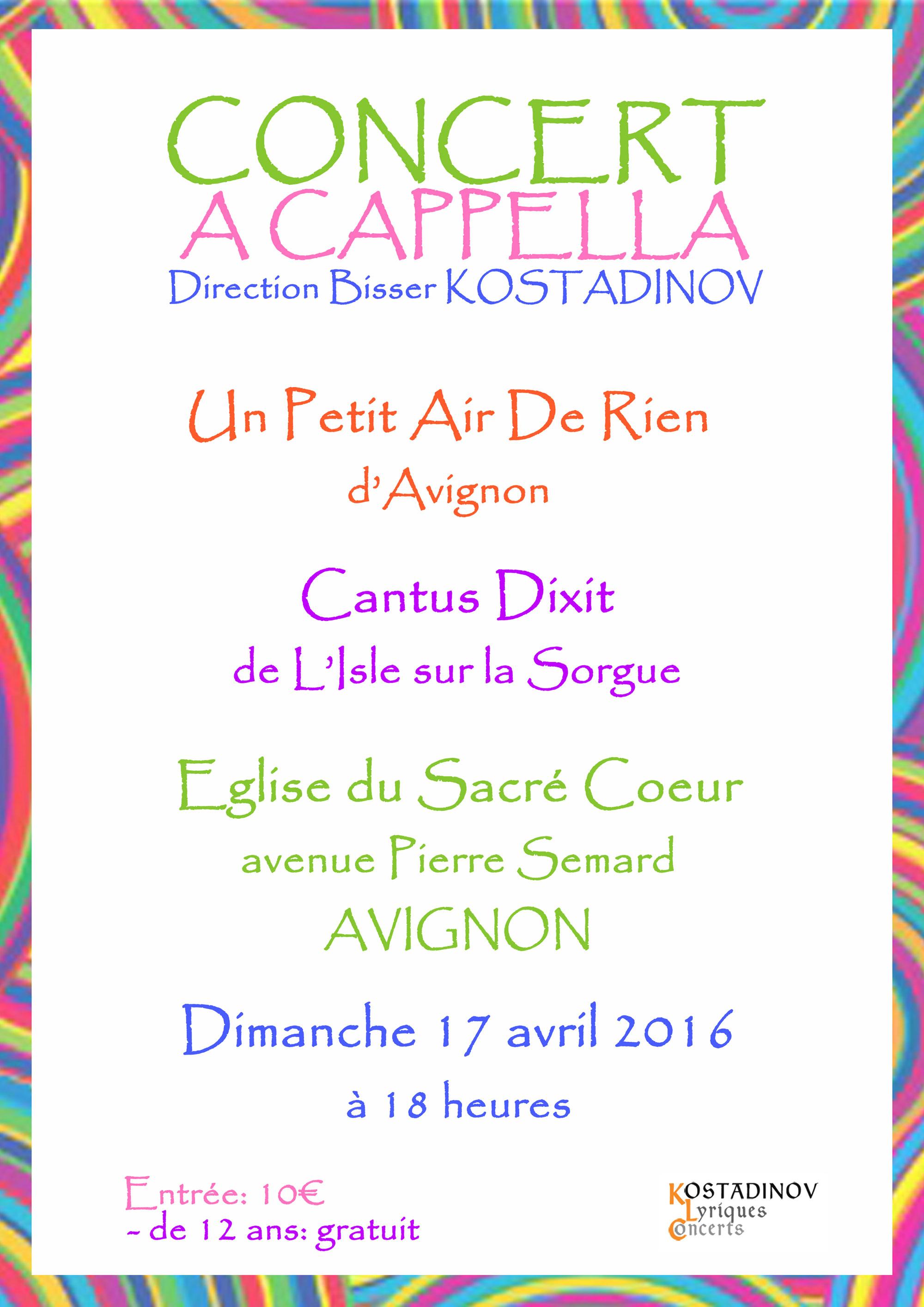 affiche du concert au Sacré Coeur en Avignon