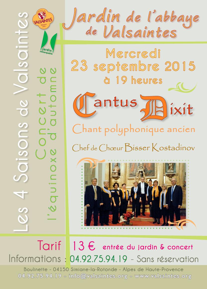 affiche du concert d'équinoxe de cantus Dixit à Valsaintes