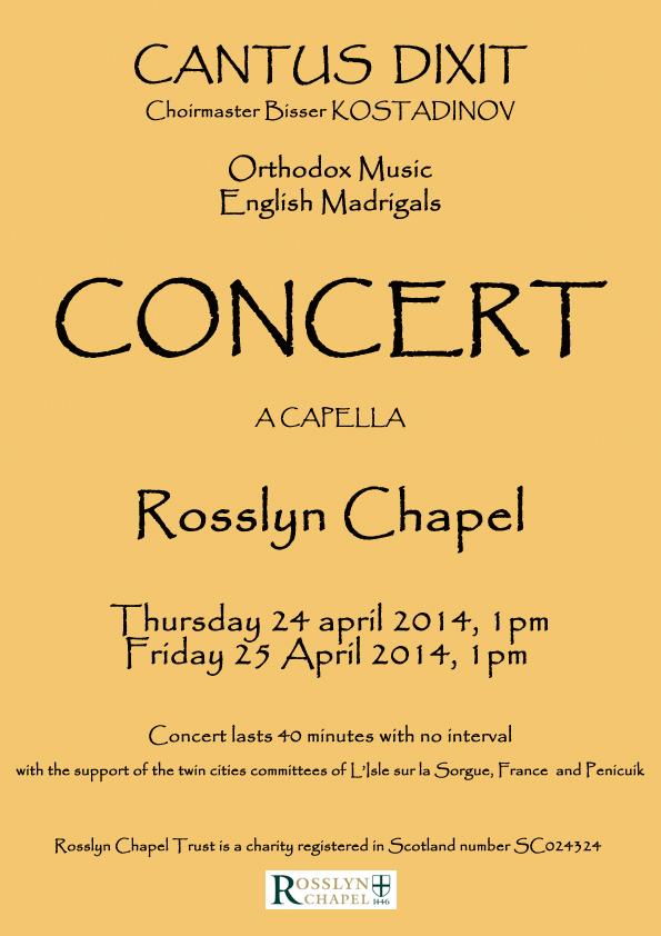 Concert Cantus Dixit à Rosslyn Chapel