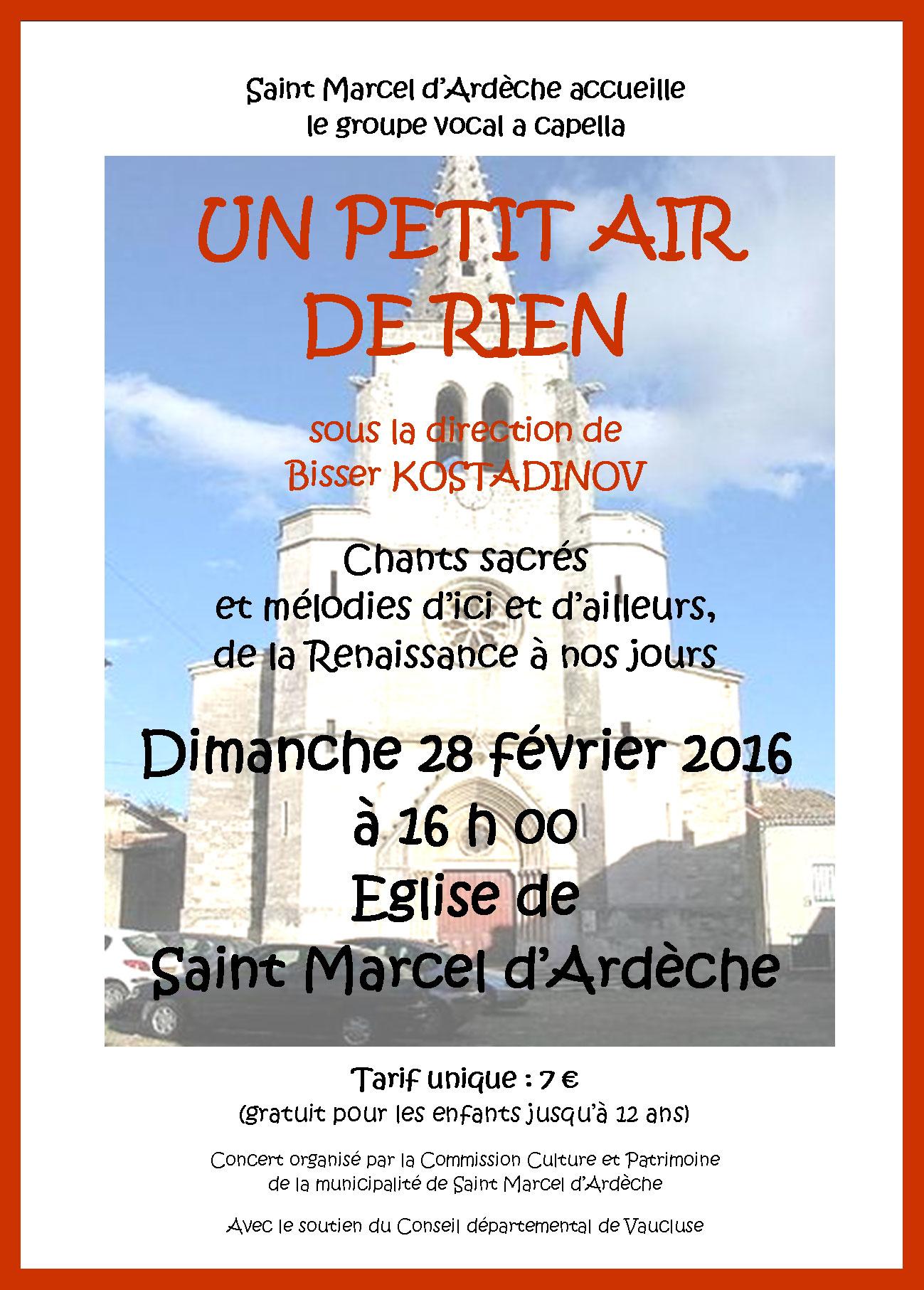 affiche du concert de UPADR à St Marcel d'Ardèche